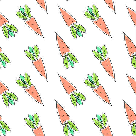 Vector seamless pattern with orange carrot with green leaf on white color background