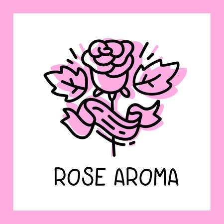 Vector pink color rose flower with text and frame on white background