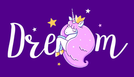 Vector illustration of head of beautiful unicorn with horn and pink mane on dark color background with word dream