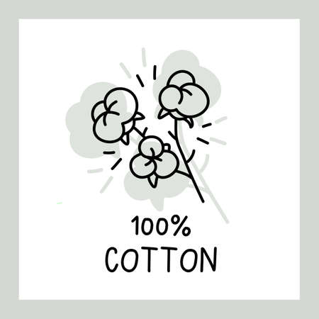 Vector line flower cotton with text and frame on white background Illustration