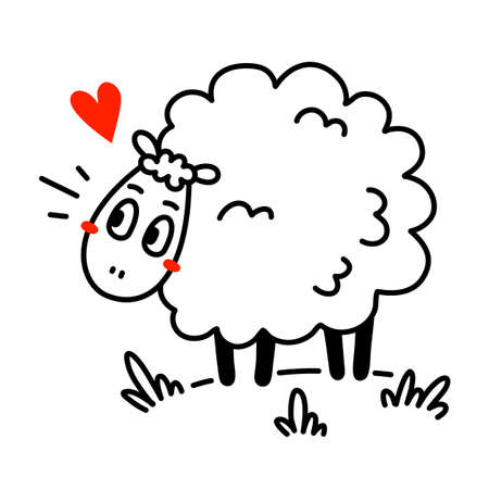 Vector illustration of cute happy line art sheep with curly wool and heart on white color background Illustration