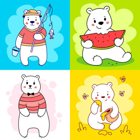 Vector set of illustration of cute happy line art bear character in different pose on color background Illustration