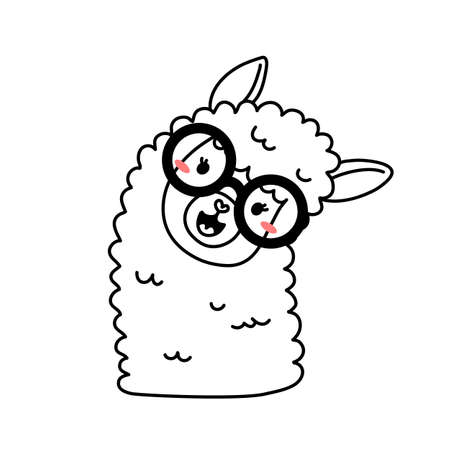 Vector illustration of head of cute line art llama with glasses on white color background