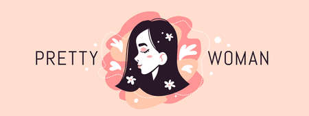 Vector illustration of head of pretty woman with close eyes on pink color background with heart