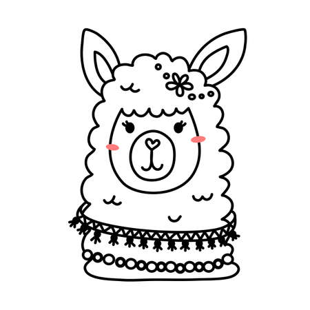 Vector illustration of head of cute line art llama with accessory on white color background
