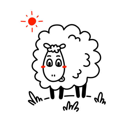 Vector illustration of cute happy line art sheep with curly wool and sun on white color background Illustration