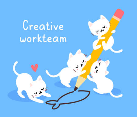 Vector illustration of cute happy white cat with pencil drawing fish on blue color background
