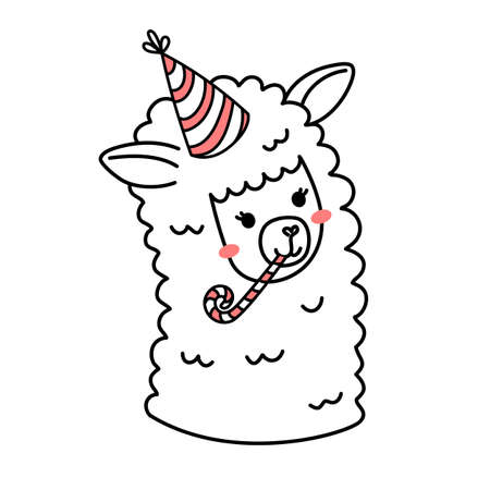 Vector illustration of head of cute line art llama with birthday hat on white color background Illustration