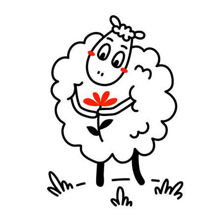 Vector illustration of cute happy line art sheep with curly wool and flower on white color background