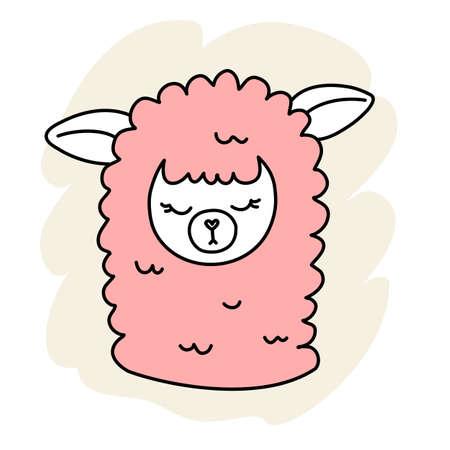 Vector illustration of head of cute sleeping line art pink llama on color background