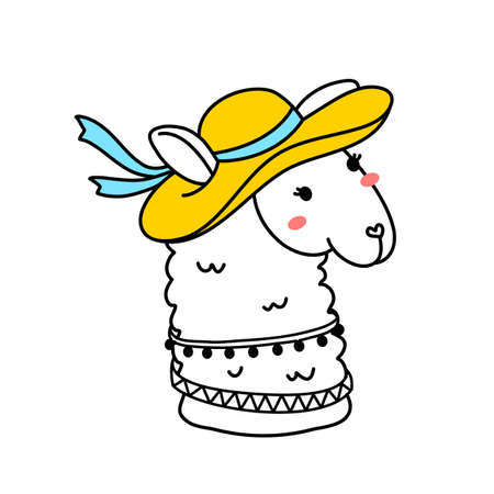 Vector illustration of head of cute line art llama with hat on white color background