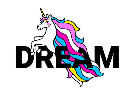 Vector illustration of head of beautiful unicorn with horn and rainbow mane on white color background with word dream