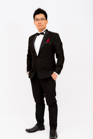 one young man: A man in tuxedo