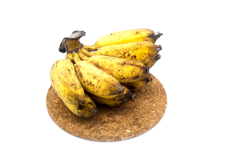 Banana with mold or fungi on the white background