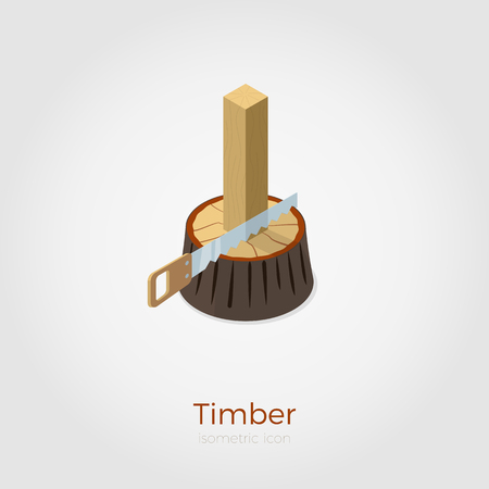 Timber illustration in isometric style. Hacksaw cutting timber from stump in wood. Isolated on white background, stylish flat colors. Illustration
