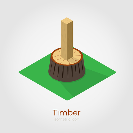 Timber illustration in isometric style. Cutted timber from stump in wood. Isolated on white background, stylish flat colors.