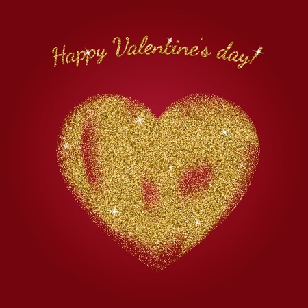 glitter heart: Gold glitter heart sign with sparkles isolated on red background. Gold sparkles and glitter illustration. Valentines day greeting card. Design for wedding card, valentine, save the date. Illustration