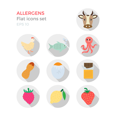 allergens: Allergens flat design icons set on white background. Vector illustration of food ingridients, that may cause allergy. Round icons with long shadows.