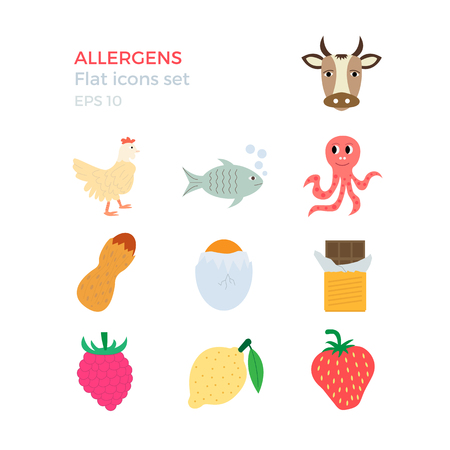 allergens: Allergens flat design icons set on white background. Vector illustration of food ingridients, that may cause allergy.