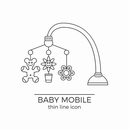 hanging toy: Baby crib hanging toy vector line icon with flowers and bear on it. Usually comes with bed or carriage.