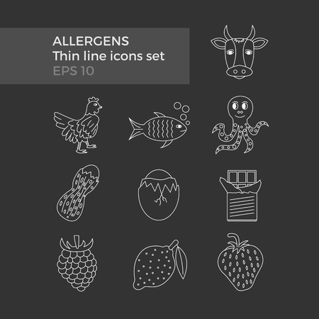 allergens: Allergens thin line icons set on black background. Vector illustration of food ingridients, that may cause allergy. Illustration