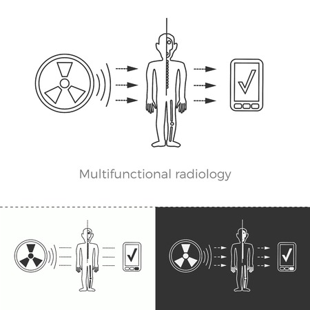 Vector illustration of future medicine trend. Medical gadgets and technological innovations. Thin line concept icon. Multifunctional radiology and full-body screening to prevent diseases.