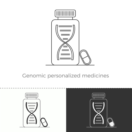 genomic: Vector illustration of future medicine trend. Medical gadgets and technological innovations. Thin line concept icon of genomic personalized medicines. Illustration