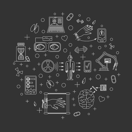 future medicine: Vector illustration of future medicine trends. Medical gadgets and technological innovations. Thin line icons set of concept art. Dark (black) background. Round shape align. Illustration