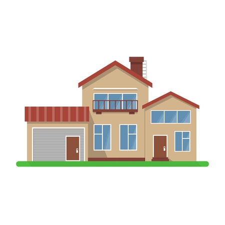 detailed image: Stylish house vector illustration. Flat design, isolated on white background, bright colors, detailed image.