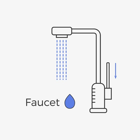 sink drain: Faucet (water tap) thin line icon. Vector illustration for web or infographics. Equipment for bathroom or kitchen.