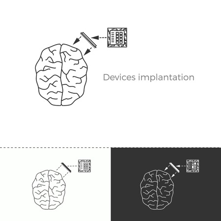 Vector illustration of future medicine trend. Medical gadgets and technological innovations. Thin line concept icon. Human brain augmentation through devices implantation. Illustration