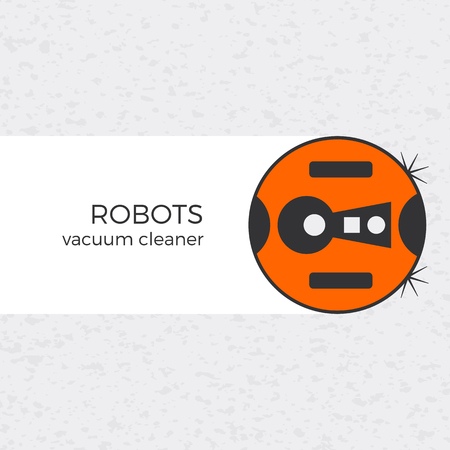 website background: Vector illustration of vacuum cleaner domestic robot with textured background.  icon in flat design. Modern colors and isolated object. Can be used for web-site design or banners. Illustration