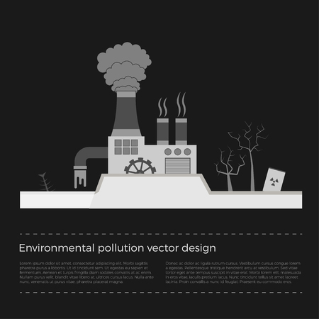 ozone layer: Ecological problems: environmental pollution vector concept in flat design and monochromatic colors. Factory building pouring wastes. Black background.