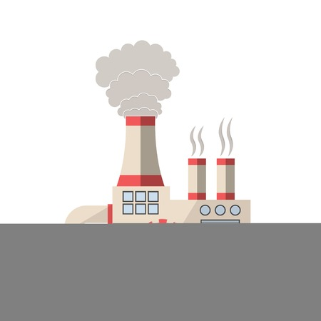 ecological damage: Chemical factory vector illustration. Plant pouring wastes. Ecological problems and environmental pollution infographics element. Illustration