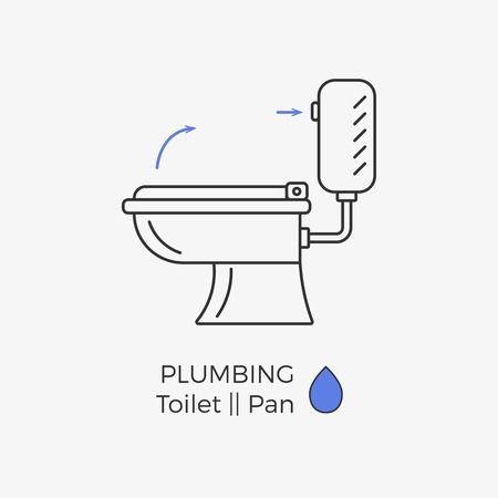 Toilet vector icon with schematic instructional arrows. WC linear icon. Illustration