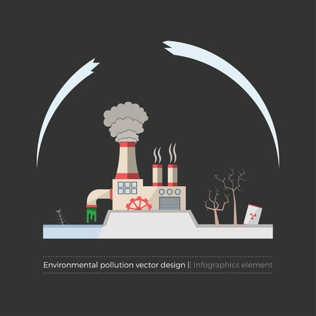 ecological damage: Ecological problems: environmental pollution vector concept in flat design and monochromatic colors. Factory building pouring wastes. Dark background. Infographics element.