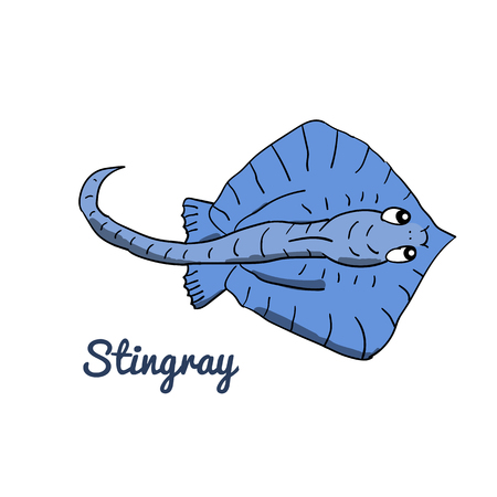Cute cartoon stingray. Ocean animal vector illustration. Sea creature in a funny, hand drawn style. Illustration