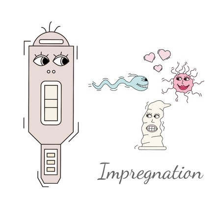 contraception: Concieving, contraception and impregnation elements set in cartoon style. Vector illustration, simple design, handdrawn look. White background.