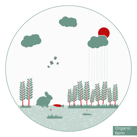 Vector organic fa illustration in round shape and flat design. Can be used as infographics element or bucklet illustration.