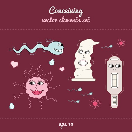 contraception: Concieving, contraception and impregnation elements set in cartoon style. Vector illustration, simple design, handdrawn look. Dark background.