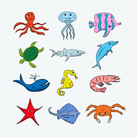 Cute ocean hand drawn animals on a light background. Vector illustration of a jellyfish, octopus, coral fish, turtle, shark, dolphin, whale, seahorse, shrimp, stingray, crab and starfish. Colorful cartoon creatures that can be used for  books decoration o Illustration