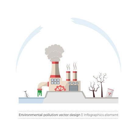 ozone layer: Ecological problems: environmental pollution vector concept in flat design and monochromatic colors. Factory building pouring wastes. White background.