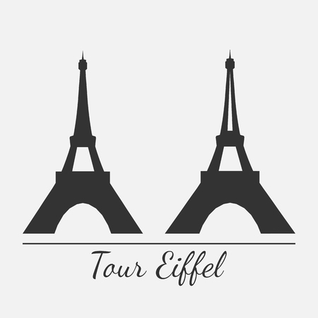 beautifu: Vector illustration of Eiffel tower silhouette in two styles. Isolated. For print or souvenir design. Illustration