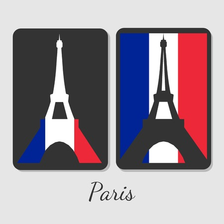 beautifu: Vector illustration of Eiffel tower magnet design. Stylish elements with colors of antional flag. For souvenir design or print.