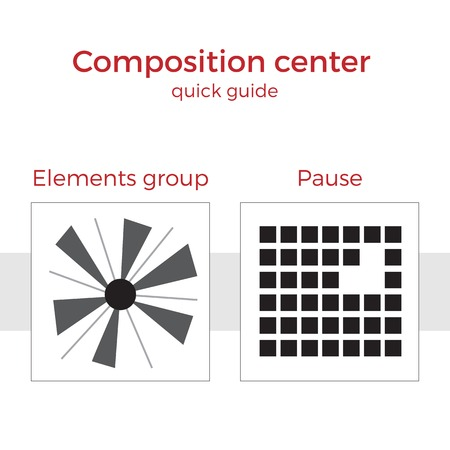 basic scheme: Quick guide to composition vector illustration. Simple elements explanation of basic principles in art. Pair of images showing key method.