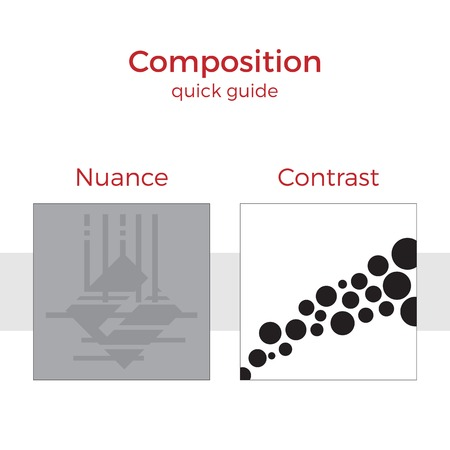 nuance: Quick guide to composition vector illustration. Simple elements explanation of basic principles in art. Pair of images showing key method.