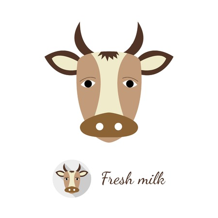 Cow head vector illustration in flat design style. Round shaped logo with long shadow included, isolated on white background.