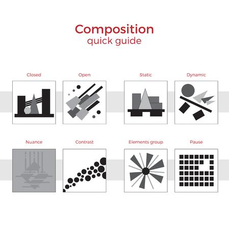 Guía rápida de composición de la ilustración del vector. Elementos simples explicación de los principios básicos en el arte. Pares de imágenes que muestran métodos clave. Ilustración de vector
