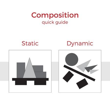 Guía rápida de composición de la ilustración del vector. Elementos simples explicación de los principios básicos en el arte. Un par de imágenes que muestran método clave.