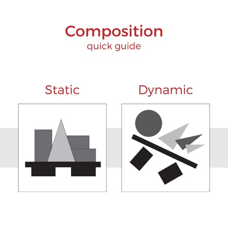principle: Quick guide to composition vector illustration. Simple elements explanation of basic principles in art. Pair of images showing key method.